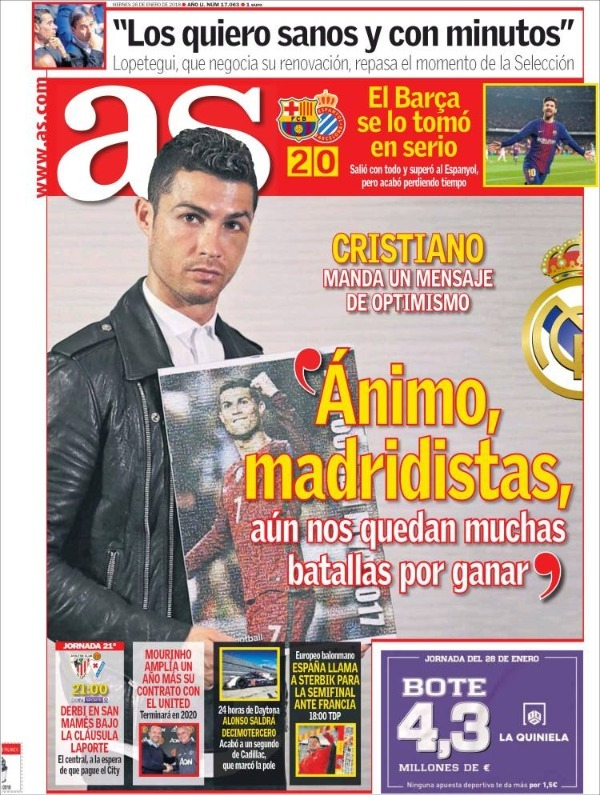 رسالة رونالدو وعودة برشلونة يتصدران صحف إسبانيا koo_34214.jpg