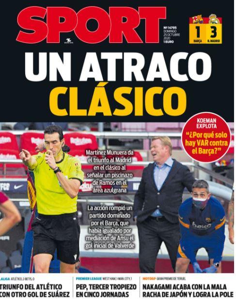 الصحف الكتالونية تتشح بالسواد عقب خسارة الكلاسيكو A828